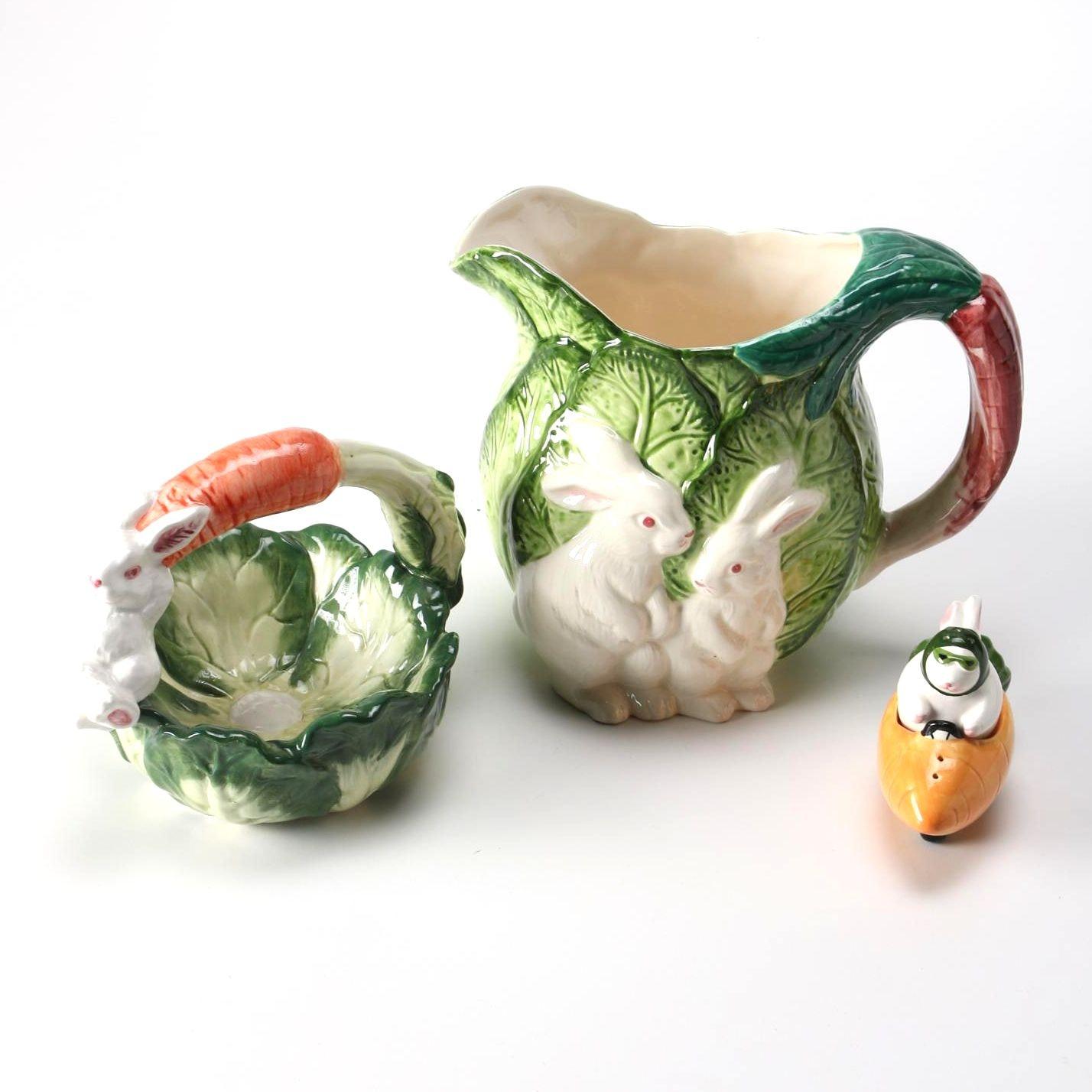 Group of Ceramic Rabbit-Themed Decor