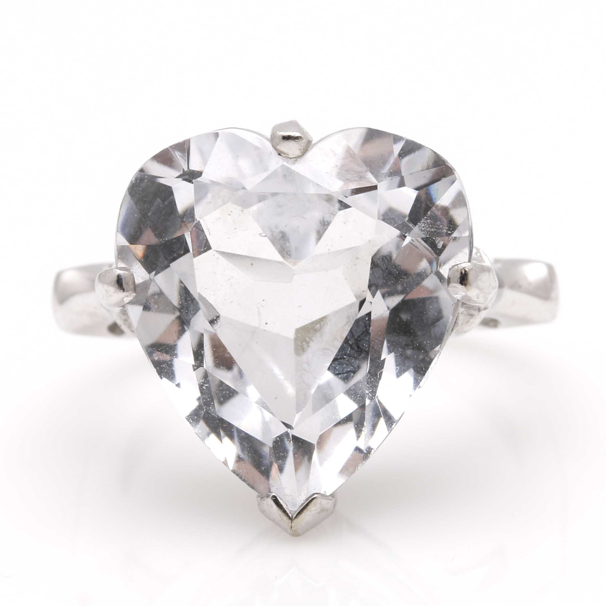 14K White Gold Faceted Heart Spinel Ring