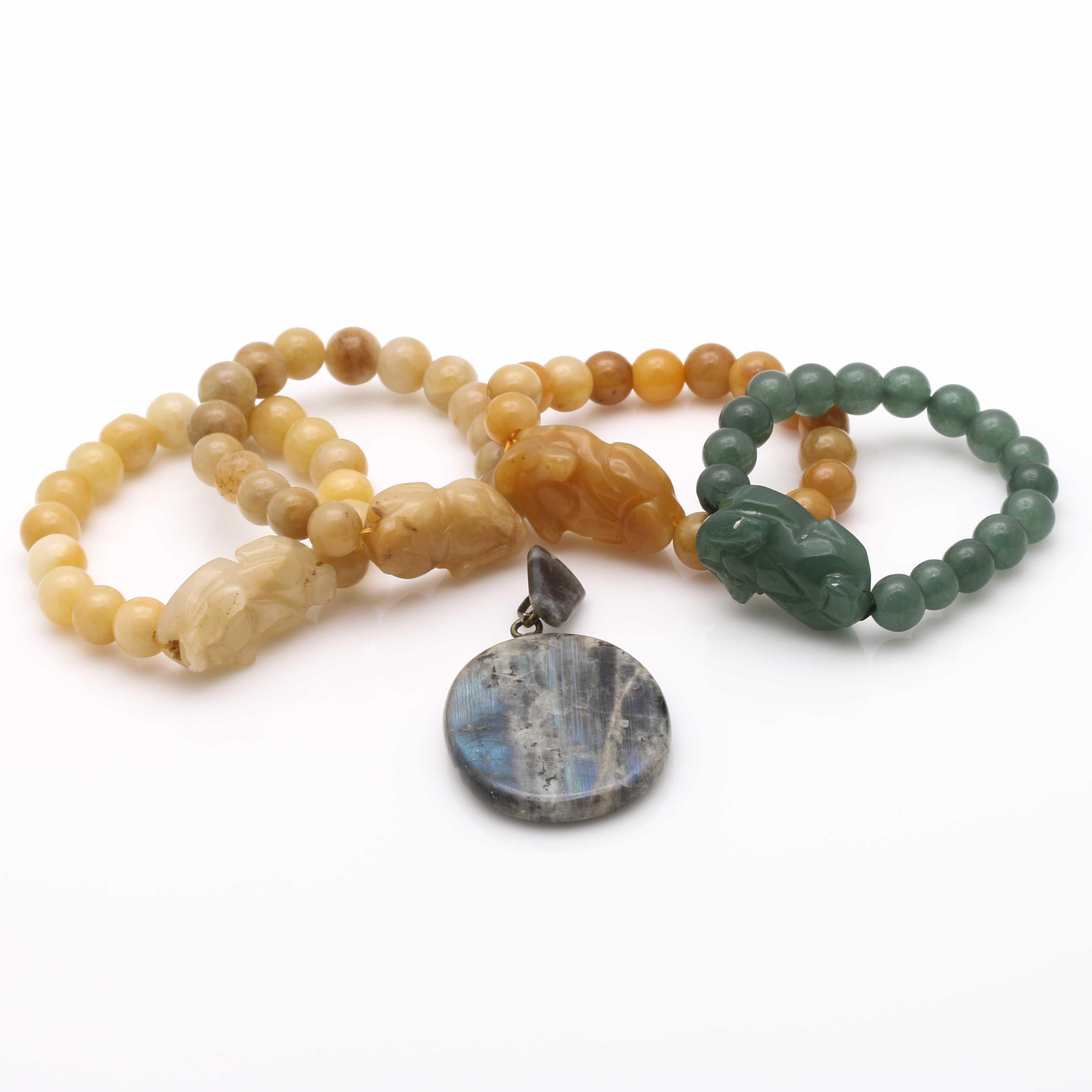 Labradorite and Quartzite Stone Jewelry