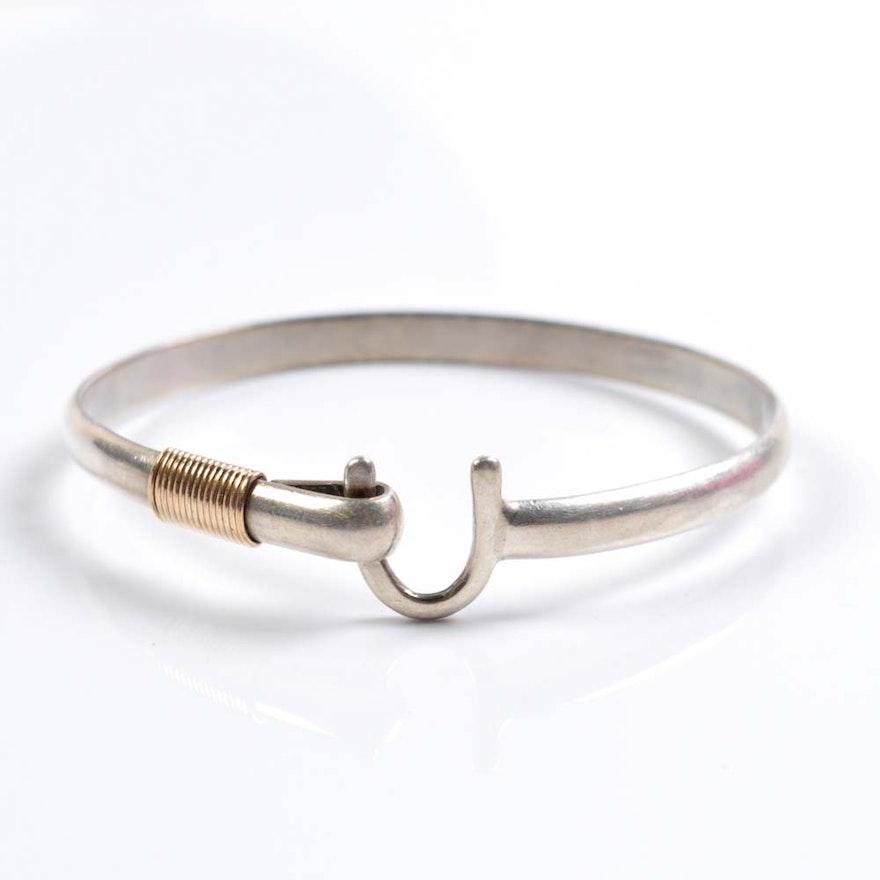 Sonya Sterling Silver And 14k Gold 5mm St Croix Hook Bracelet