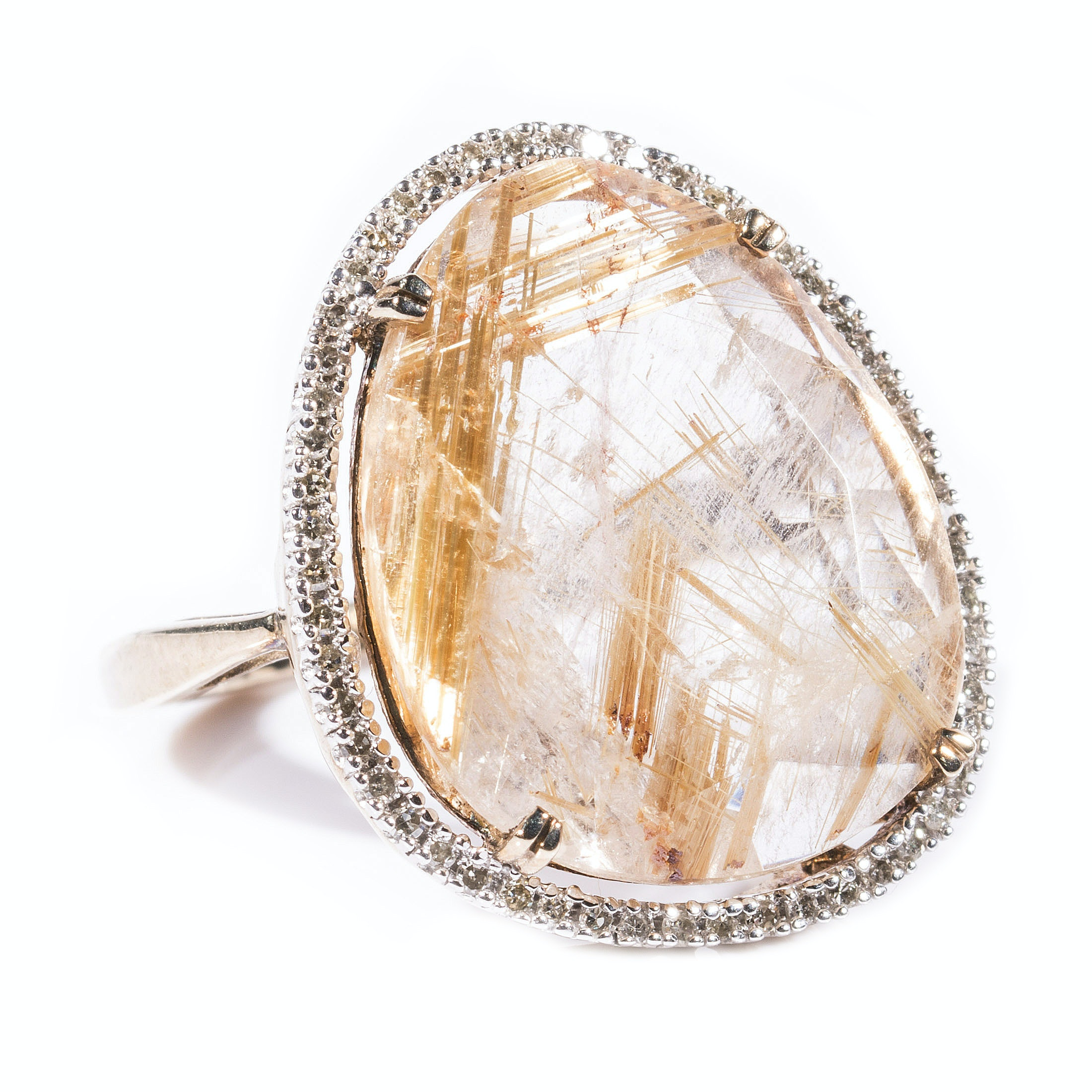 Sterling Silver Gold Plated Rutilated Quartz and Diamond Ring