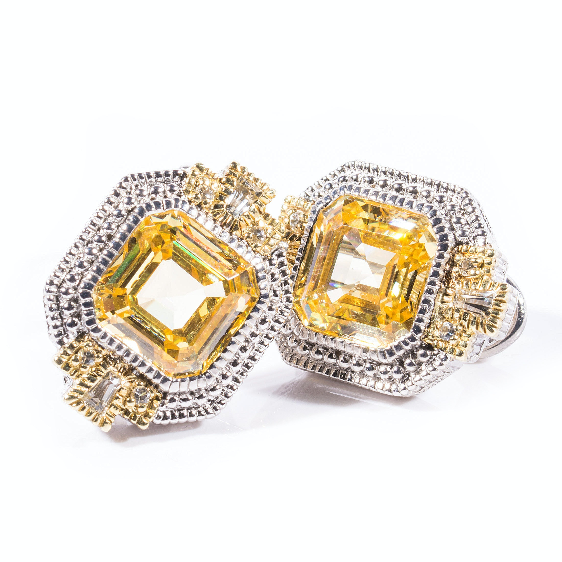 Judith Ripka Sterling Silver and 18K Gold White Sapphire and Yellow Crystal Earrings