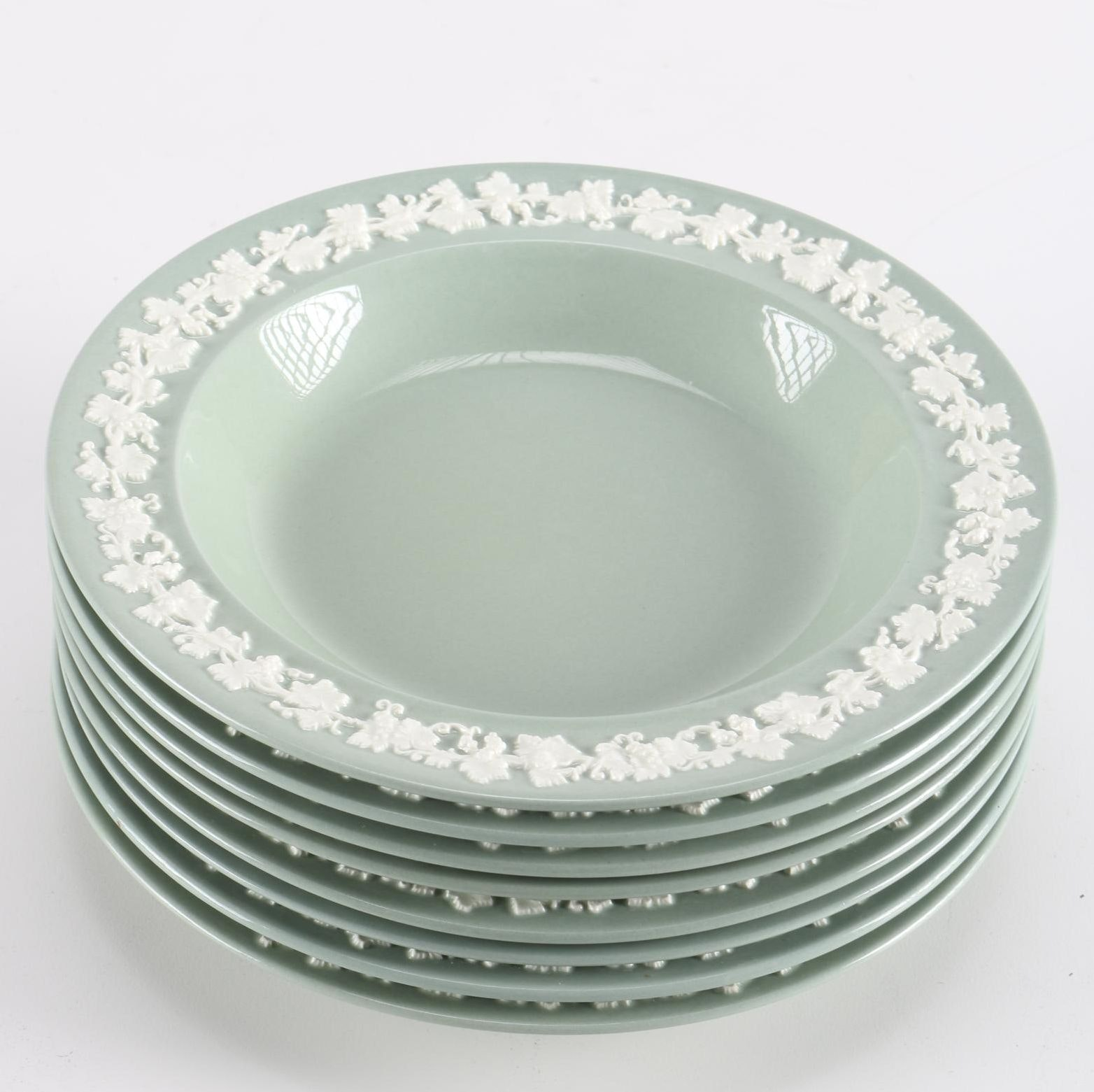 """Wedgwood """"Cream Color on Gray"""" Embossed Dishes"""