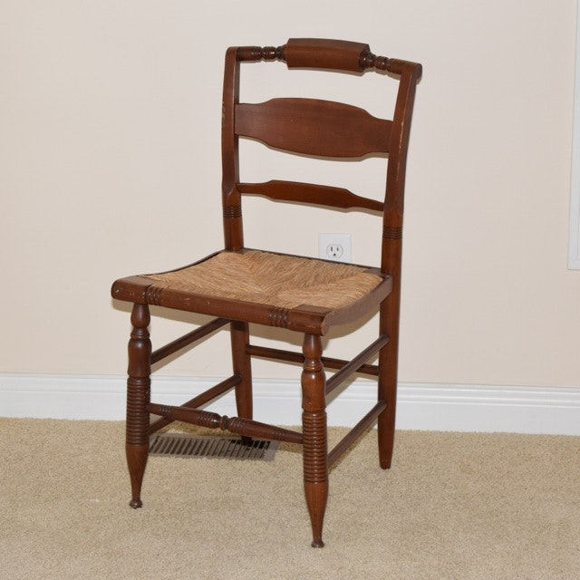 Cherry Accent Chair with Rush Woven Seat
