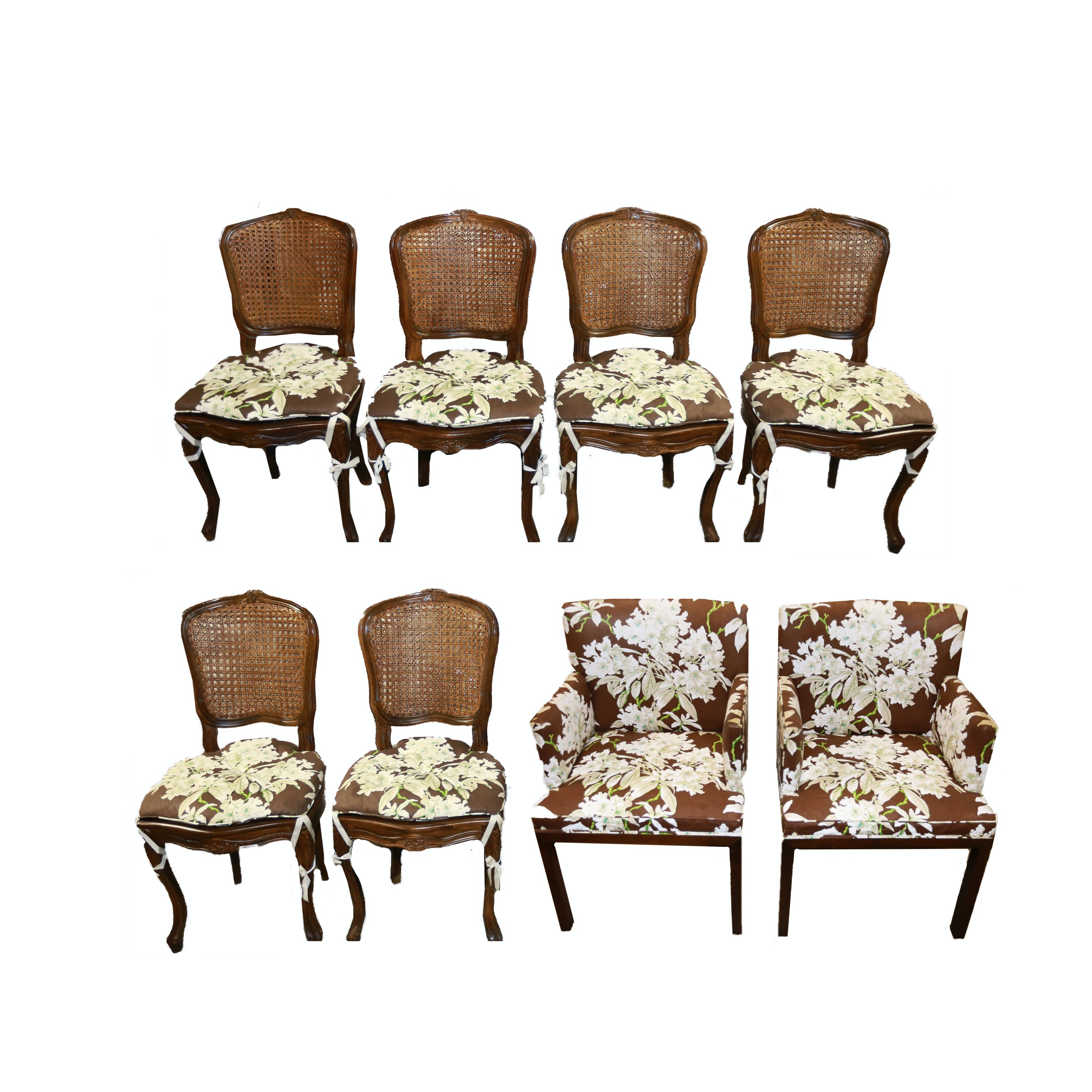 Wooden Floral Motif Chairs