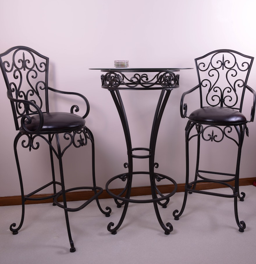 scrolled metal high top table and chairs ebth. Black Bedroom Furniture Sets. Home Design Ideas