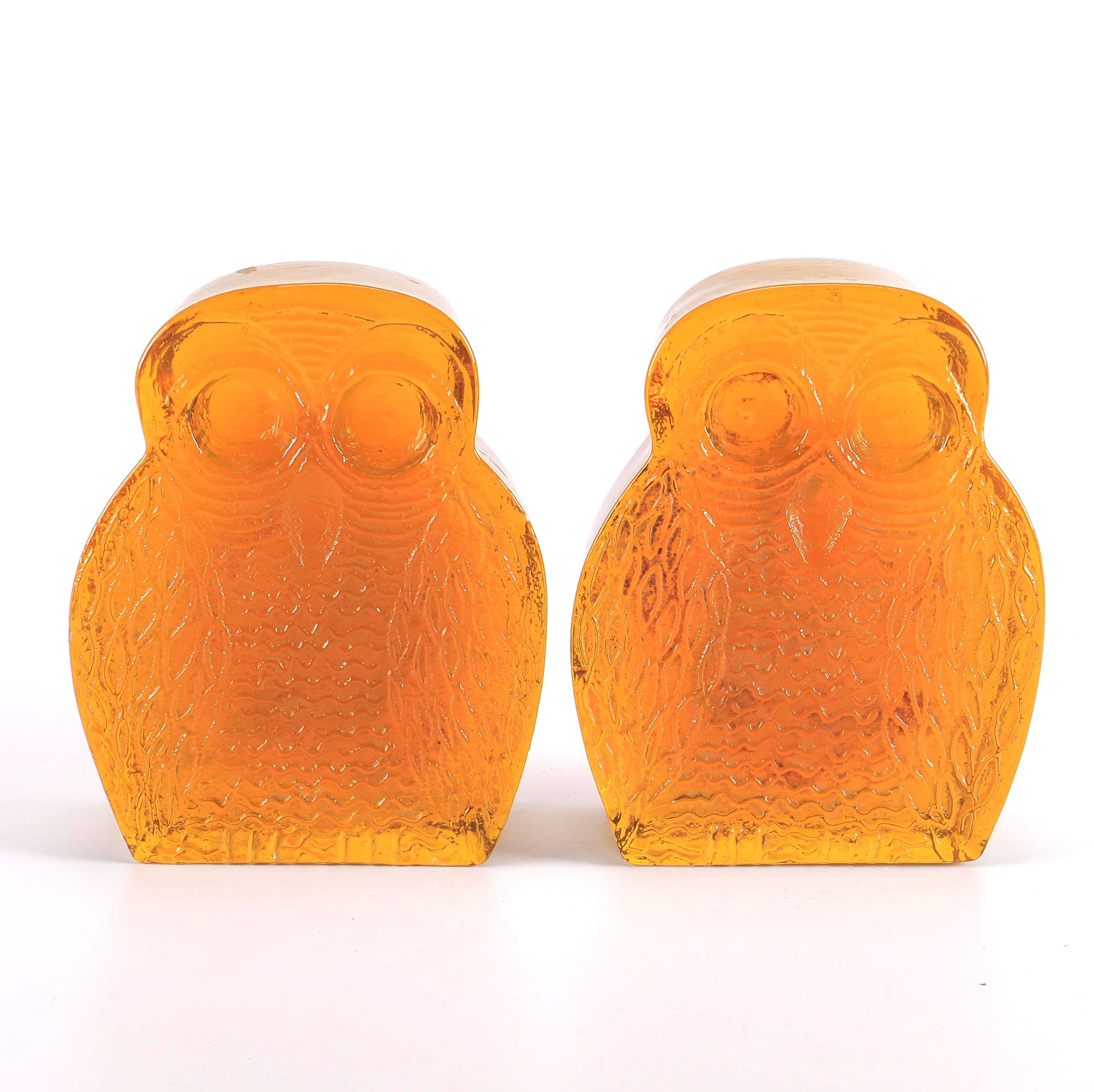 Blenko Mid-Century Glass Owl Bookends