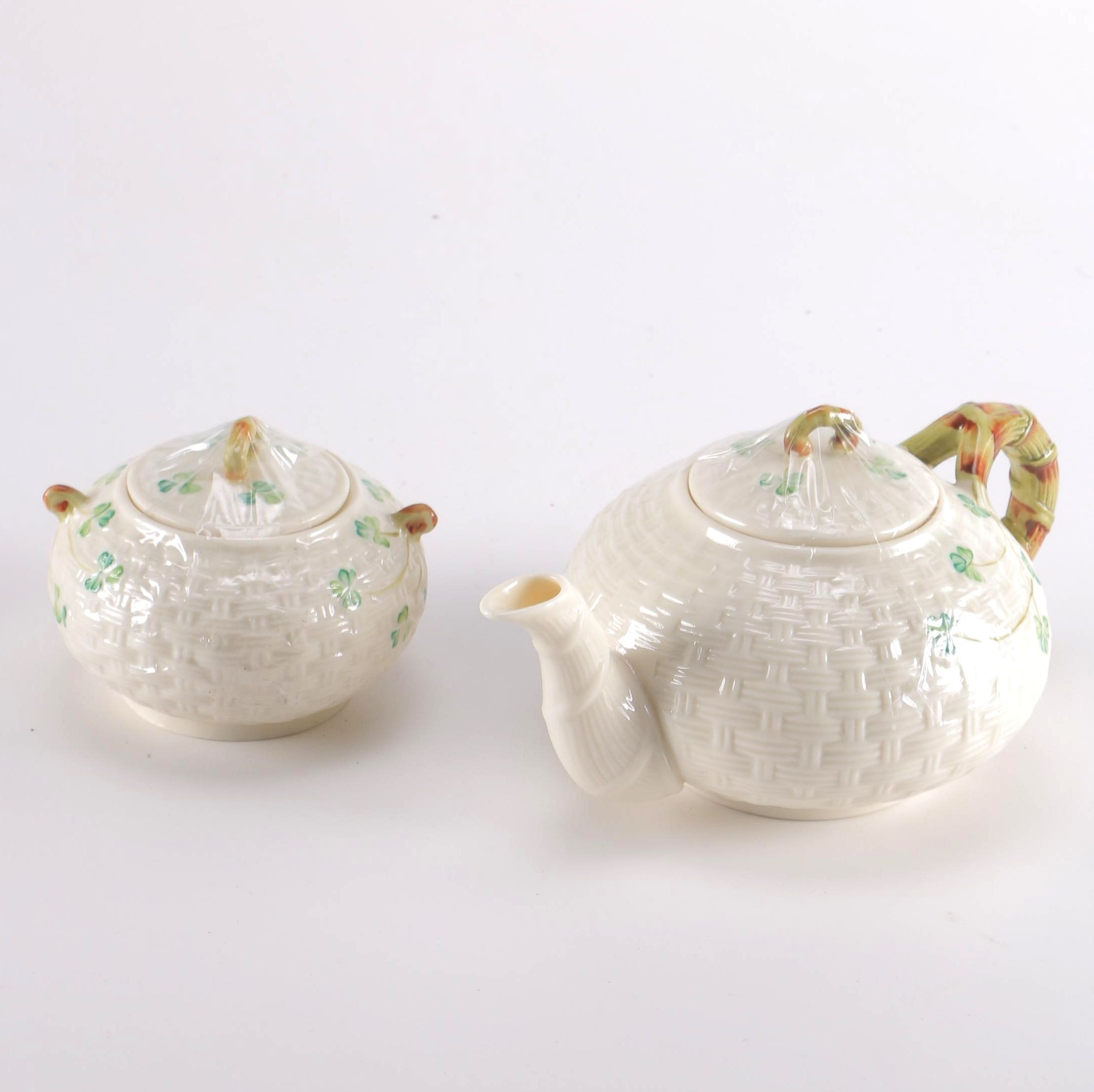 "Belleek Porcelain ""Shamrock"" Teapot and Sugar Bowl"