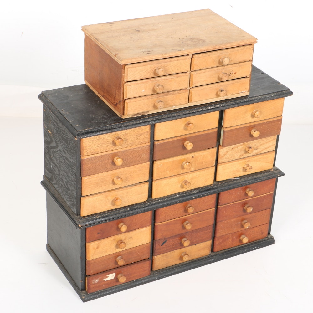 Wood Storage Chests With Contents