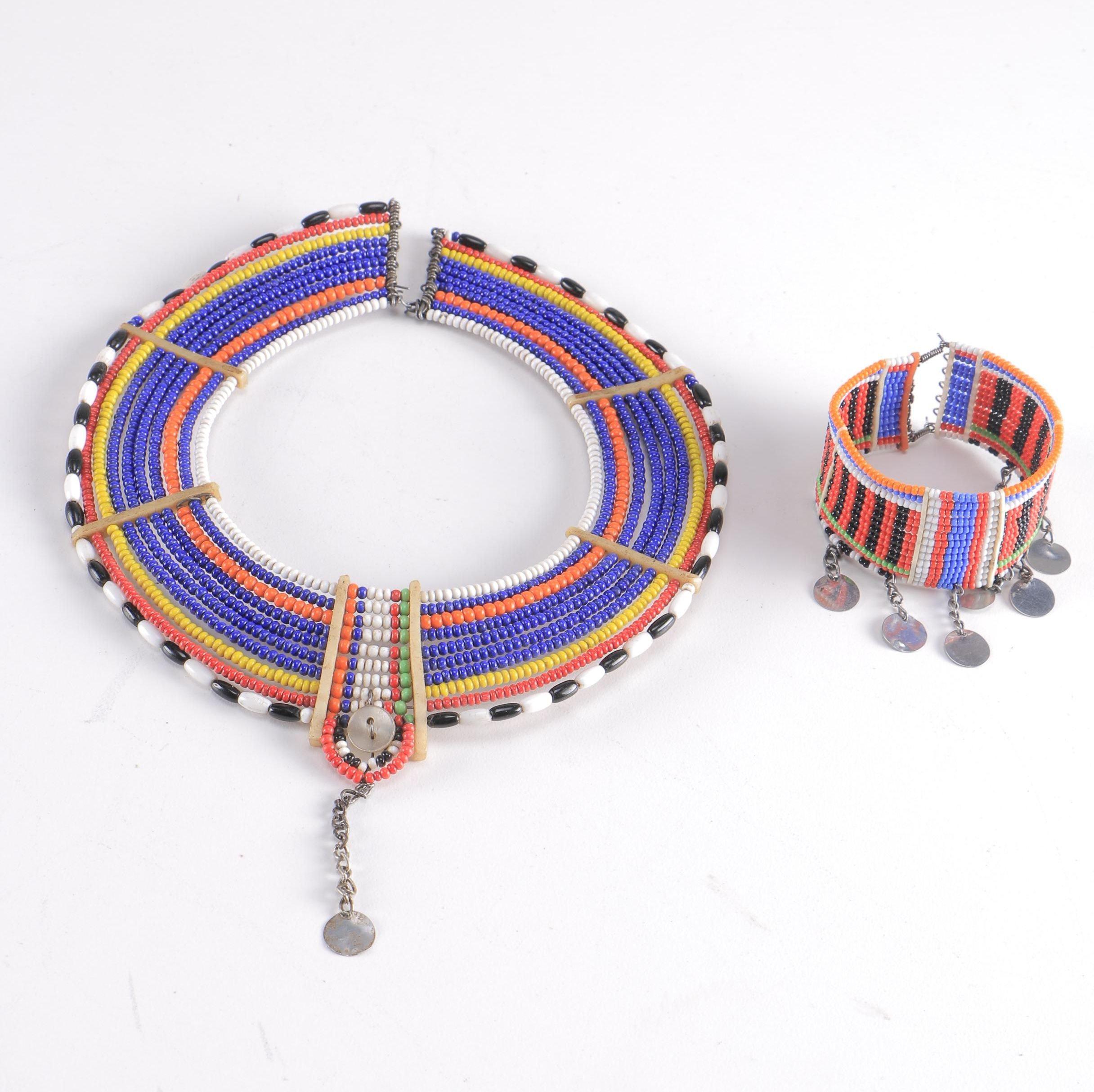 Maasai Mara Beaded Collar Necklace and Cuff Set