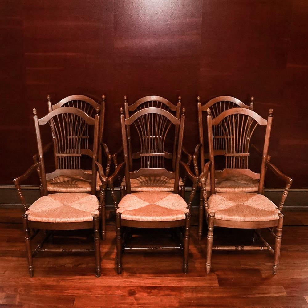 Set of Six Rush Seat Oak Dining Chairs