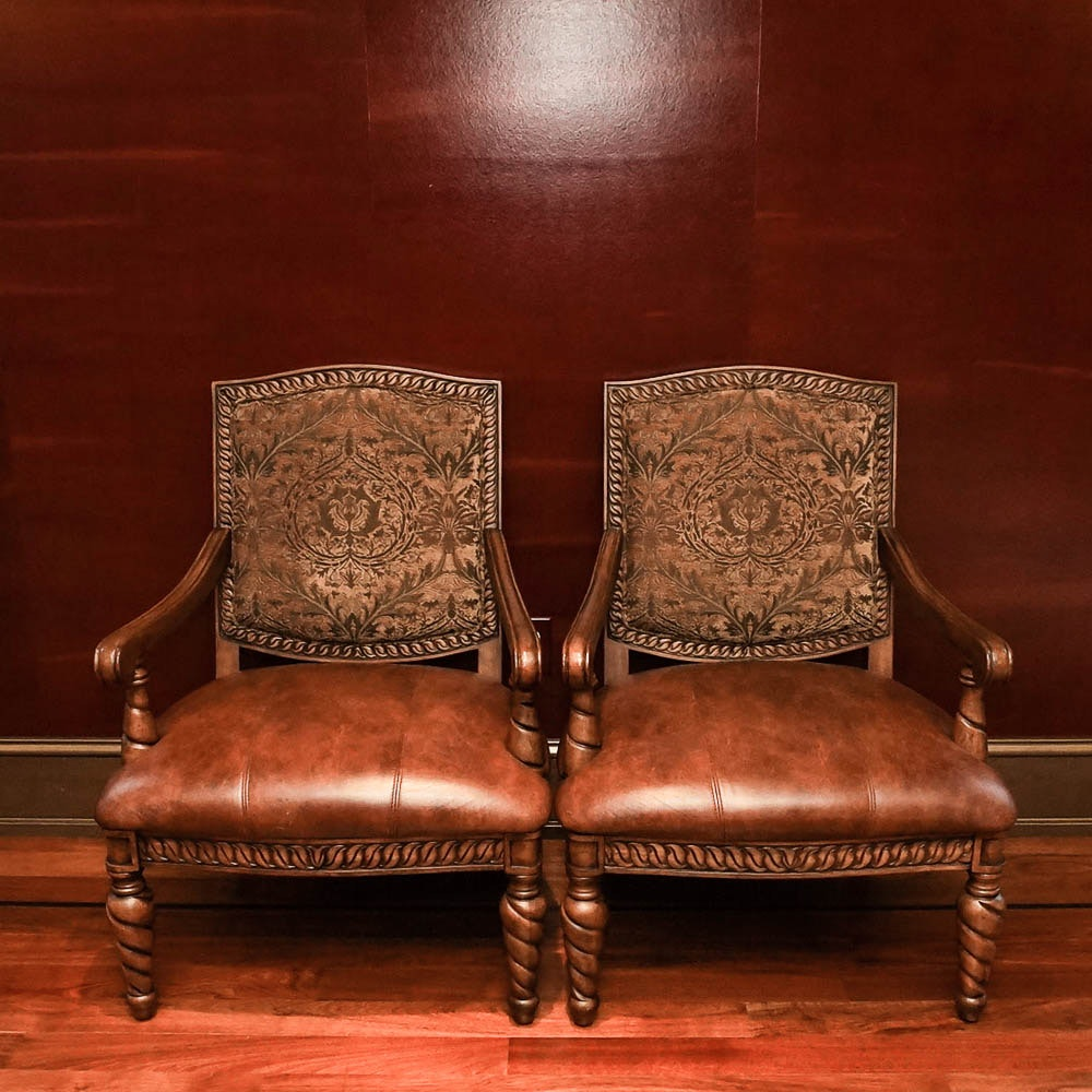 Contemporary Louis XIII Style Armchairs