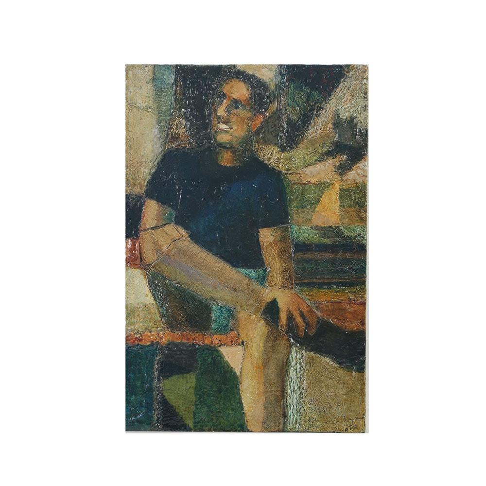 """Edgar Hatten Encaustic Painting on Board """"Painting of Paul Hendrix"""""""