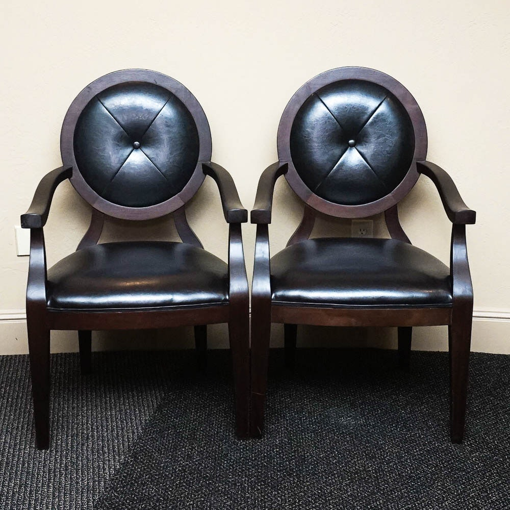 Oval Back Leather Armchairs