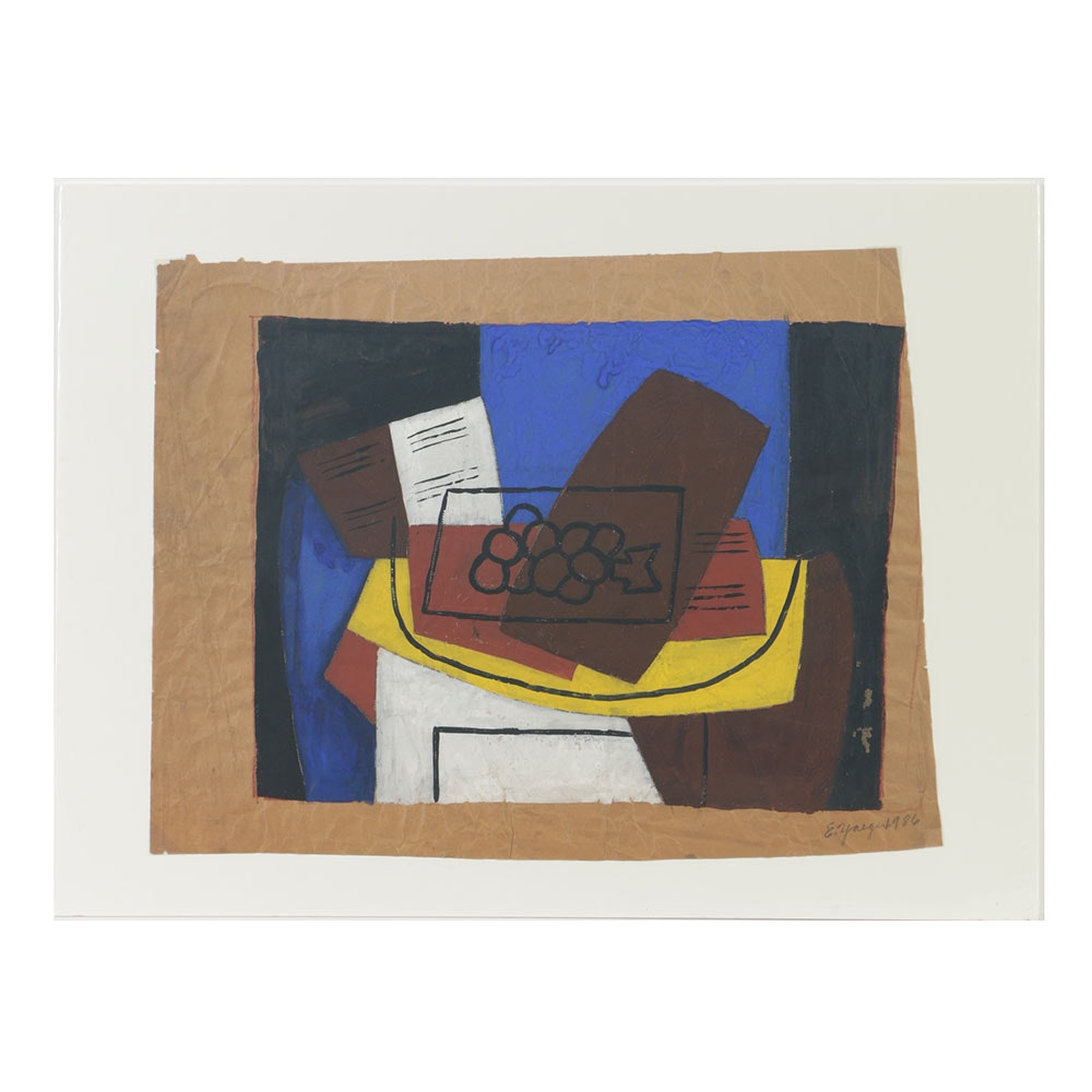 Edgar Yaeger Gouache Painting on Brown Paper Abstract Still Life