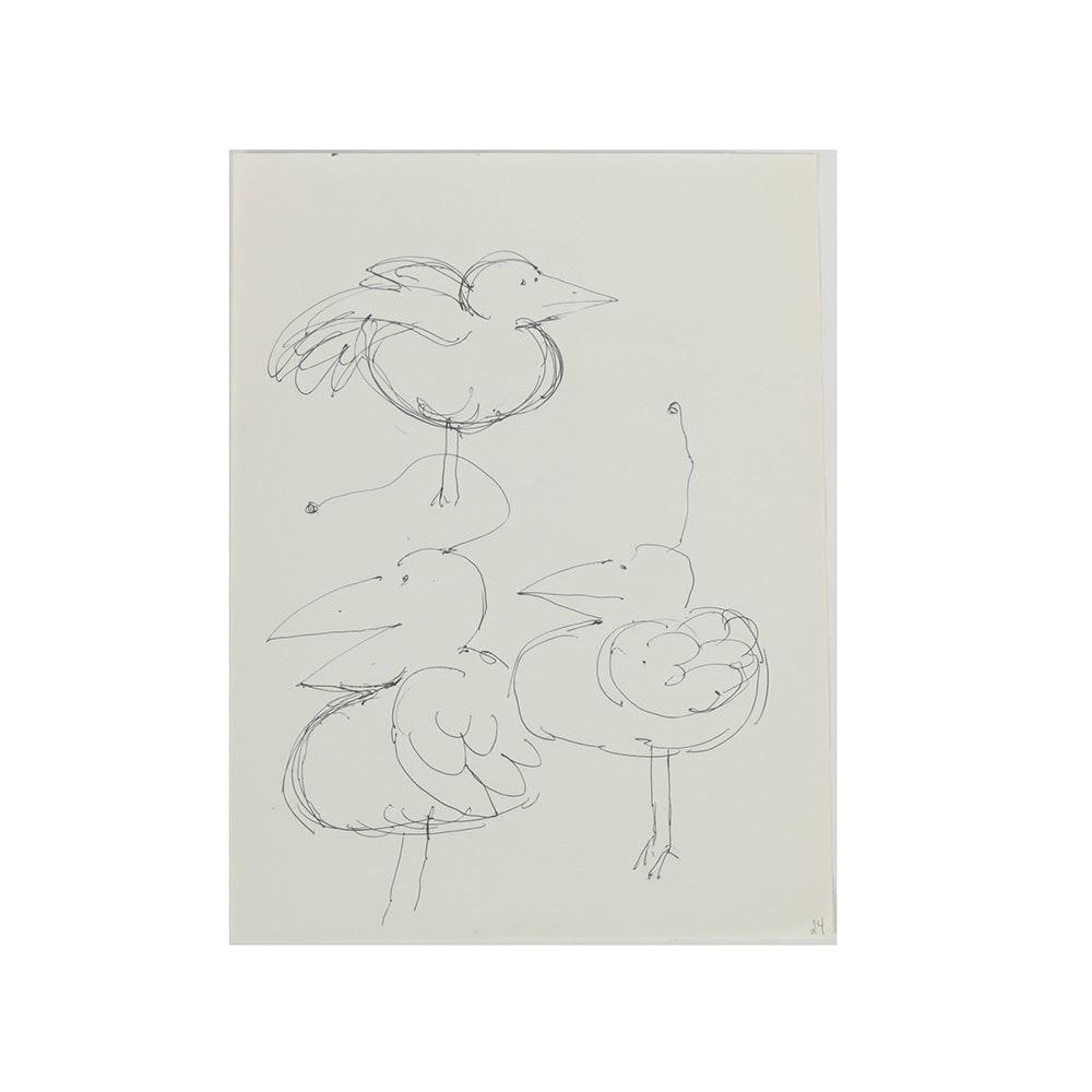 Bob Guccione Ink Drawing on Paper of Cartoon Birds