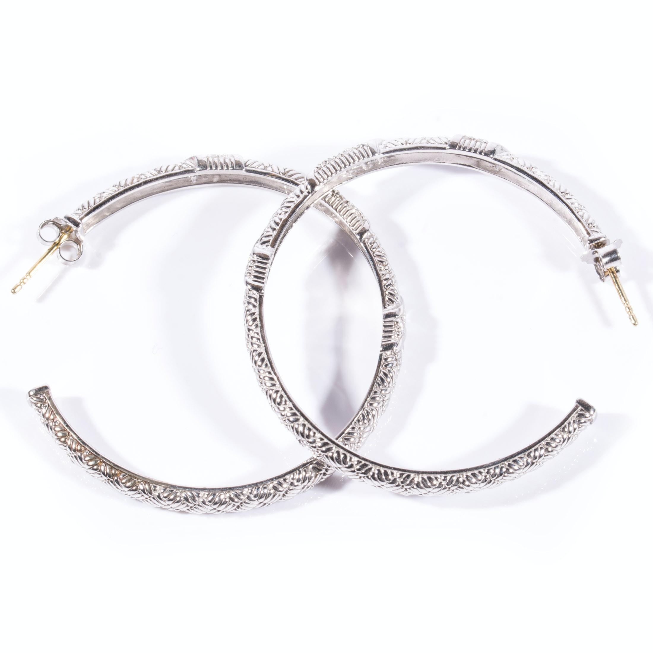 Judith Ripka Sterling Silver and 18K White Sapphire Large Hoop Earrings
