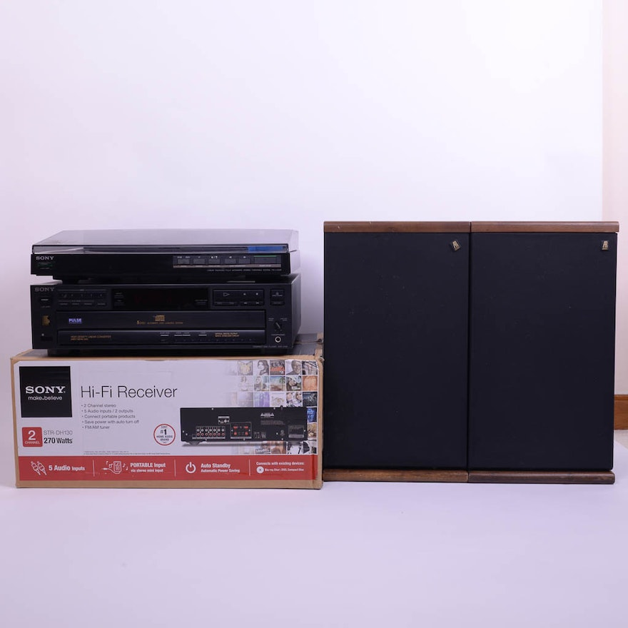 Sony Turntable, Hi-Fi Receiver, 5-Disc CD Player and Speakers