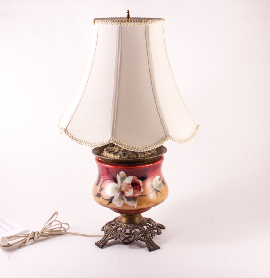 Vintage Table Lamp with Hand Painted Glass Base Ebth