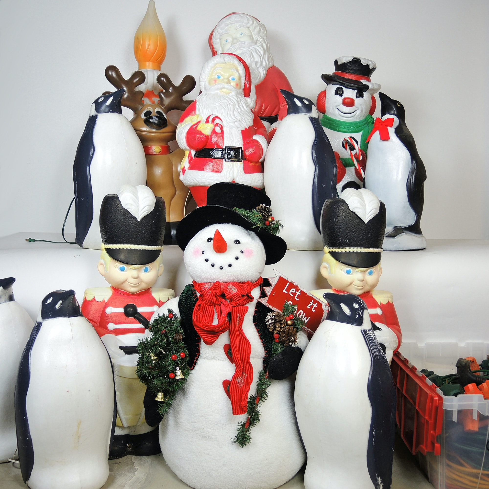 Vintage and Newer Christmas Blowmold Pre-Lit Lawn Ornaments