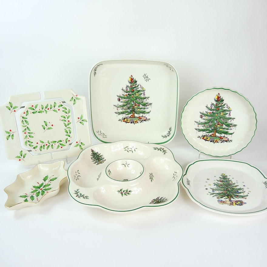 spode lenox and nikko christmas serving dishes