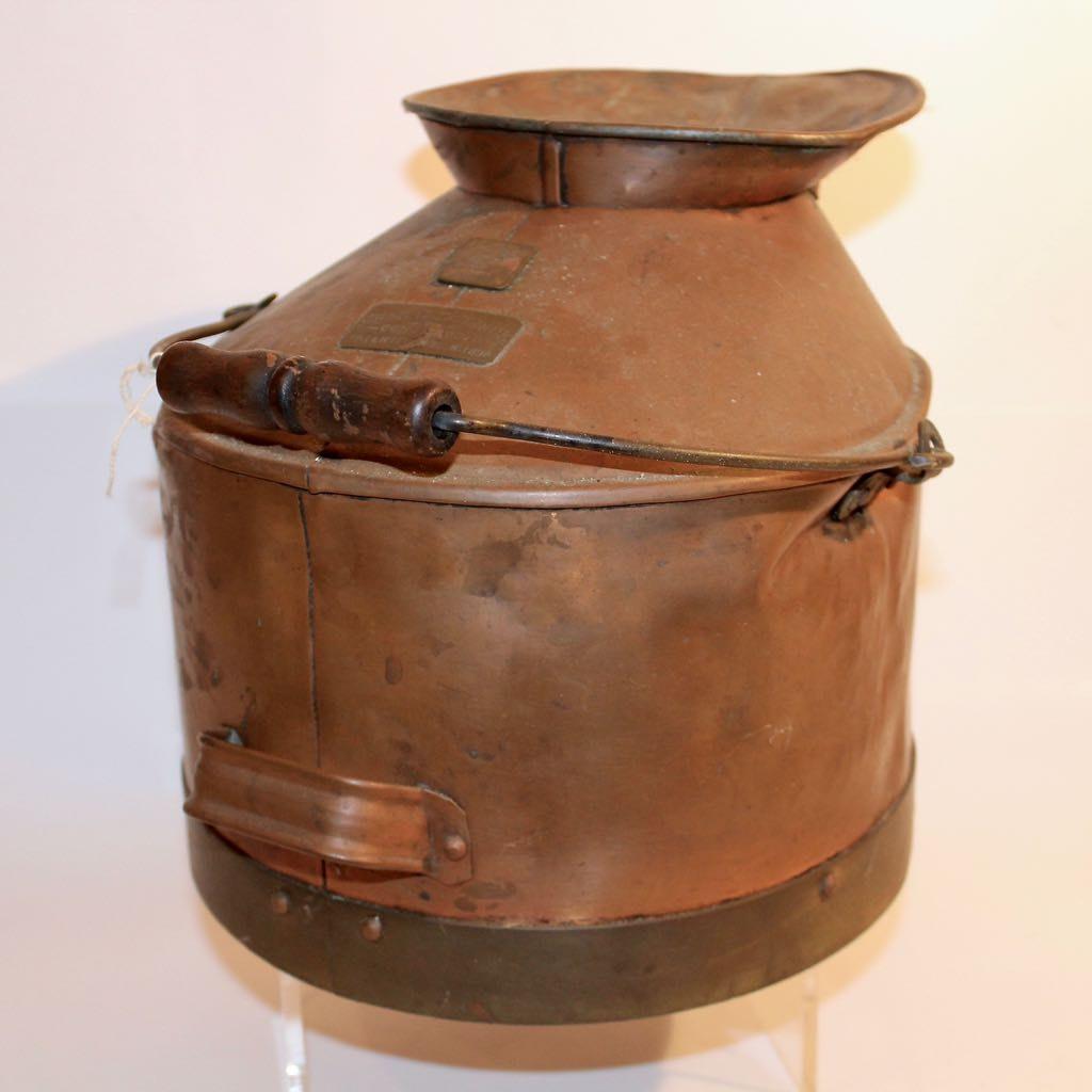 Antique Chas G Schenck Copper Cream Milk Bucket, 1898