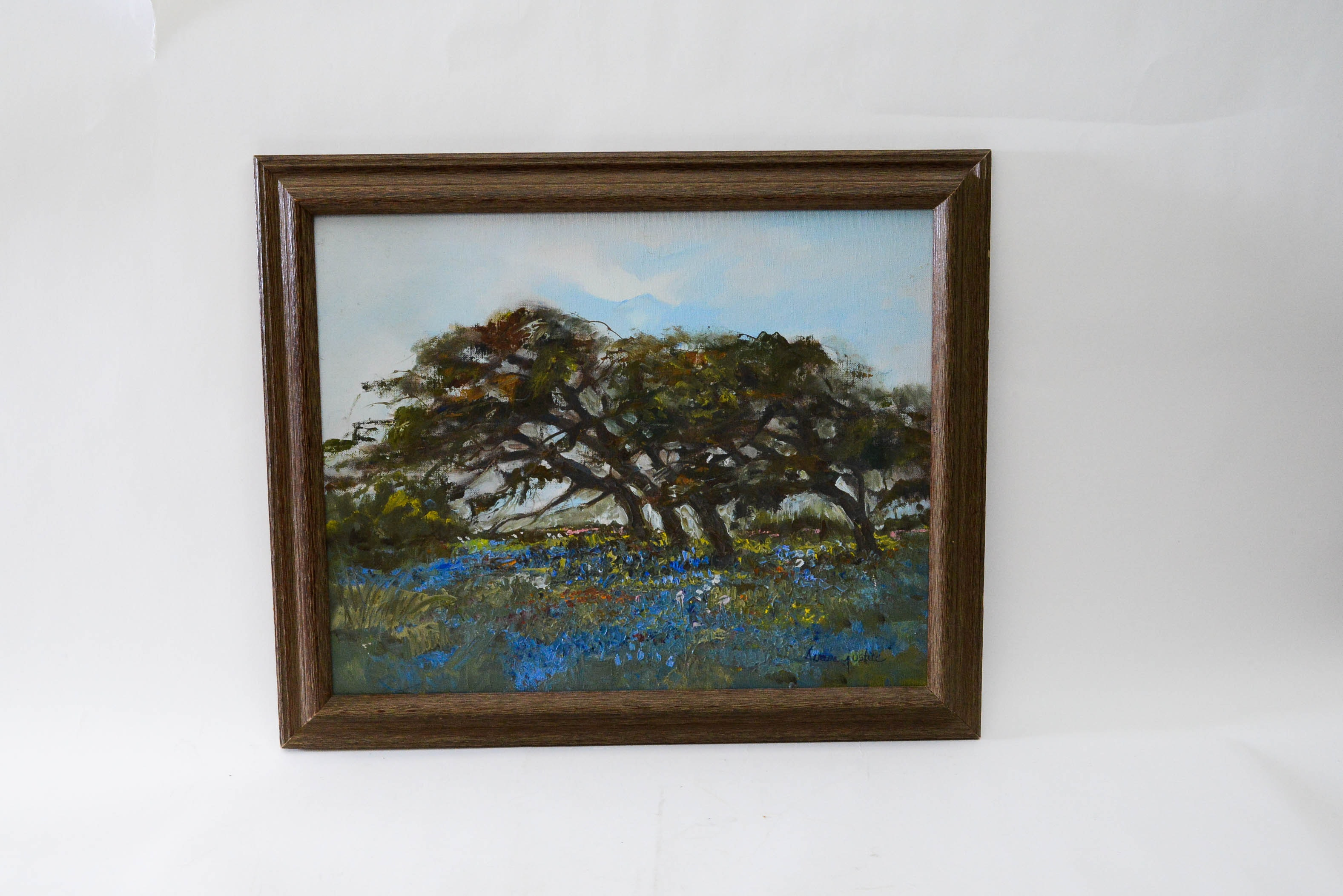 Framed Impressionist Oil on Canvas of Trees and Wild Flowers by Teresa Justice