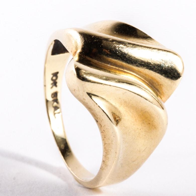 Vintage Hubertus Von Skal 10K Yellow Gold Bypass Ring