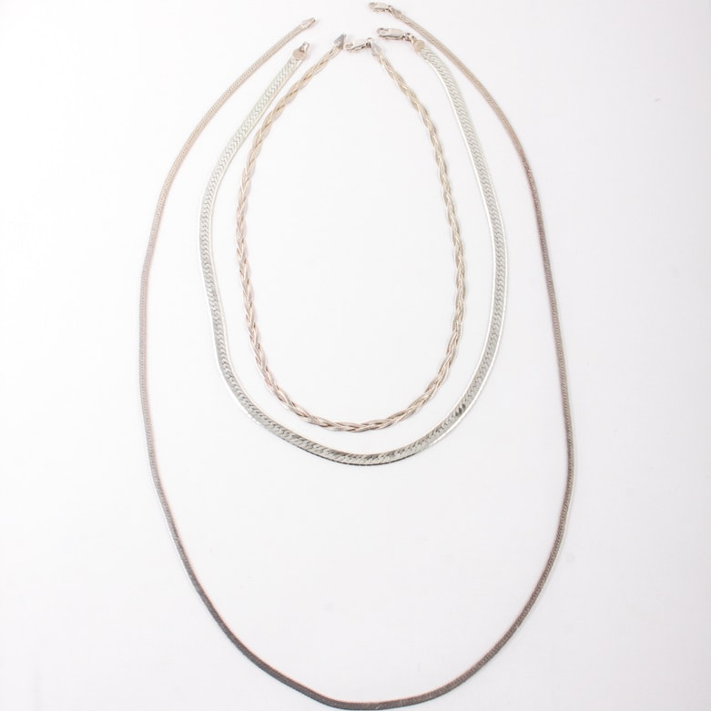 Three Sterling Silver Chains