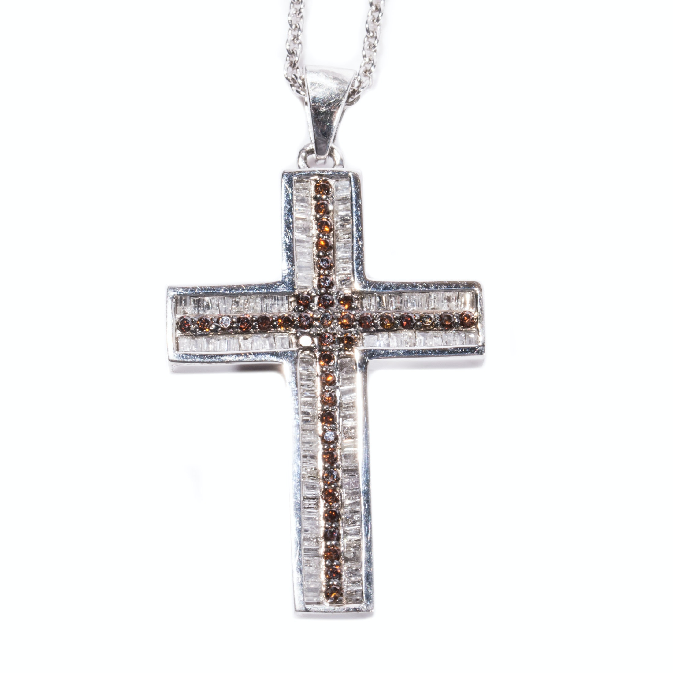 Sterling Silver White and Orange Diamond Cross Pendant Necklace