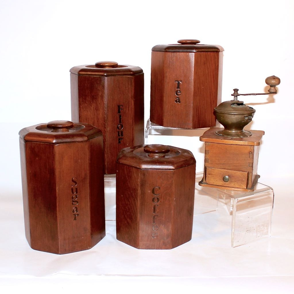 Vintage Wood Canister Set plus Antique Coffee Mill