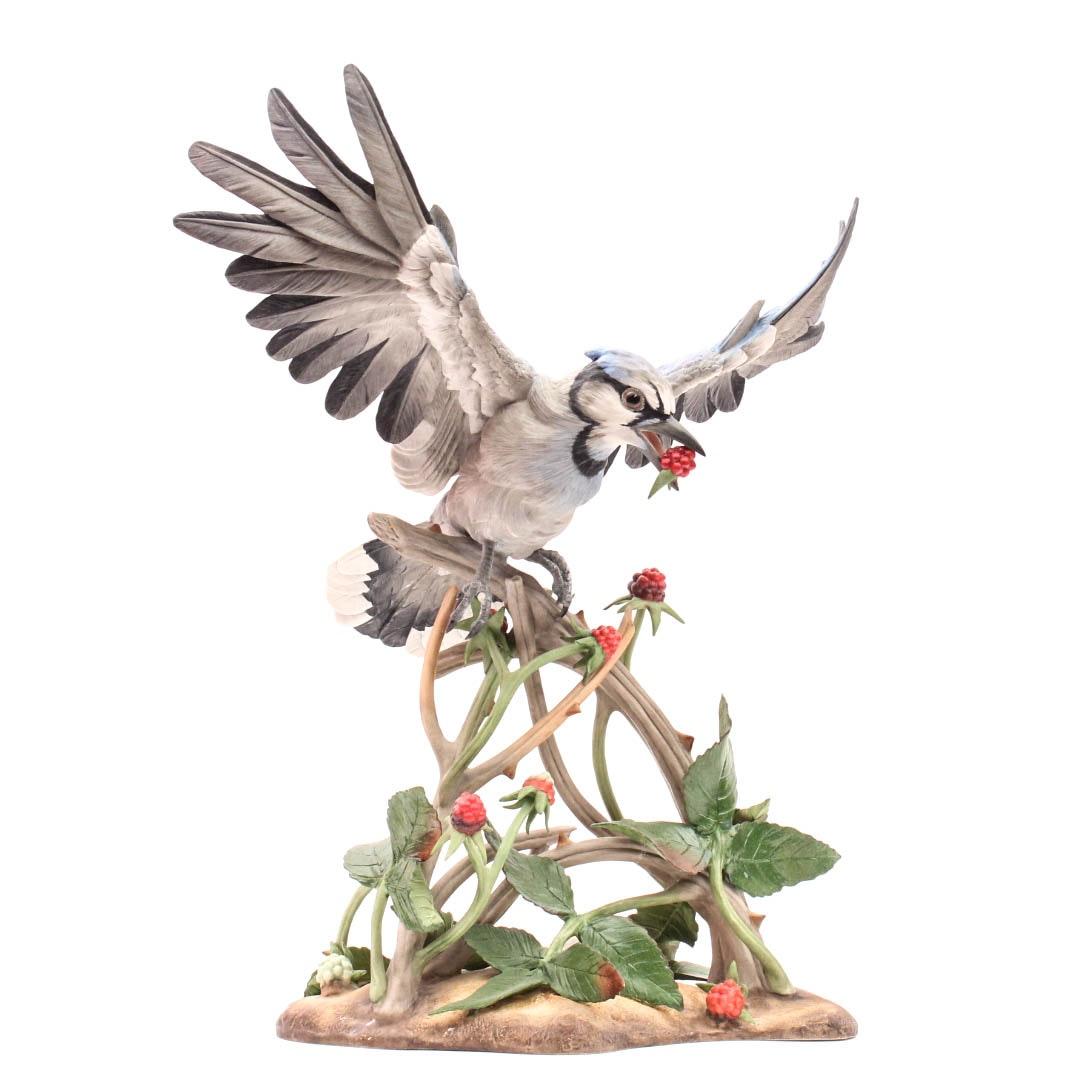 "Boehm Limited Edition Bisque Porcelain Bird ""Blue Jay"""