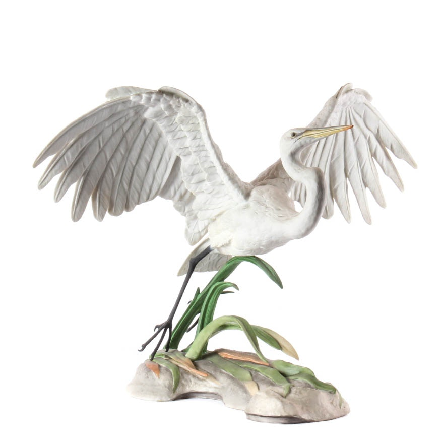 "Boehm Signed Limited Edition Porcelain Bird ""The Great Egret"""