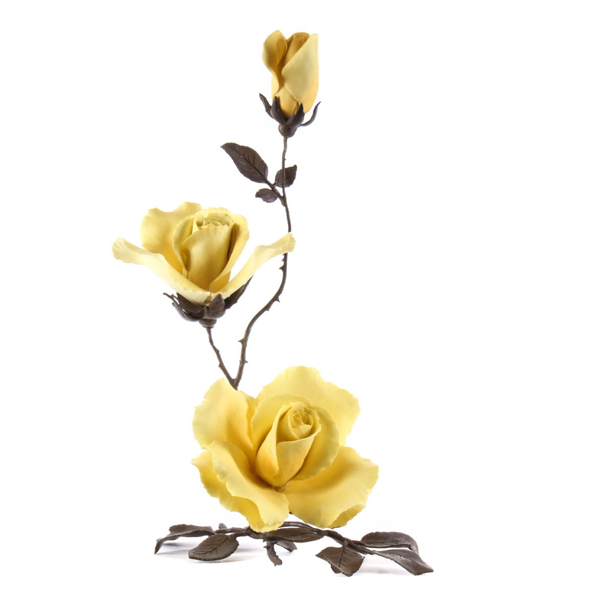 "Boehm Porcelain Flower ""Yellow Rose"""