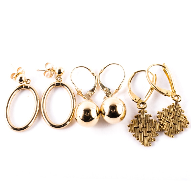 Three Pairs of 14K Yellow Gold Dangle Earrings
