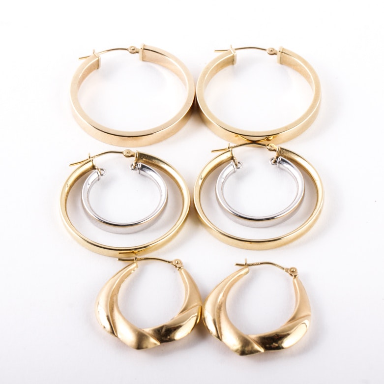 Three Pairs of 14K Yellow Gold Hoop Earrings
