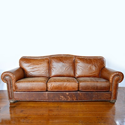 Contemporary Art Deco Style Brown Leather Sofa