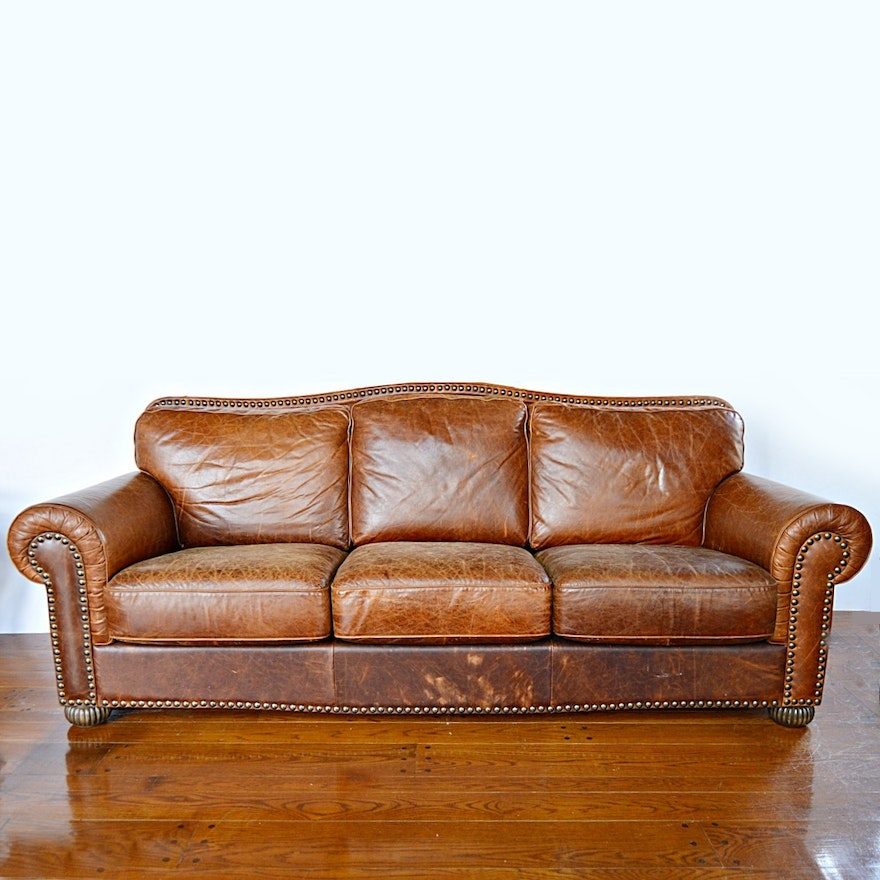 Contemporary Art Deco Style Brown Leather Sofa Ebth