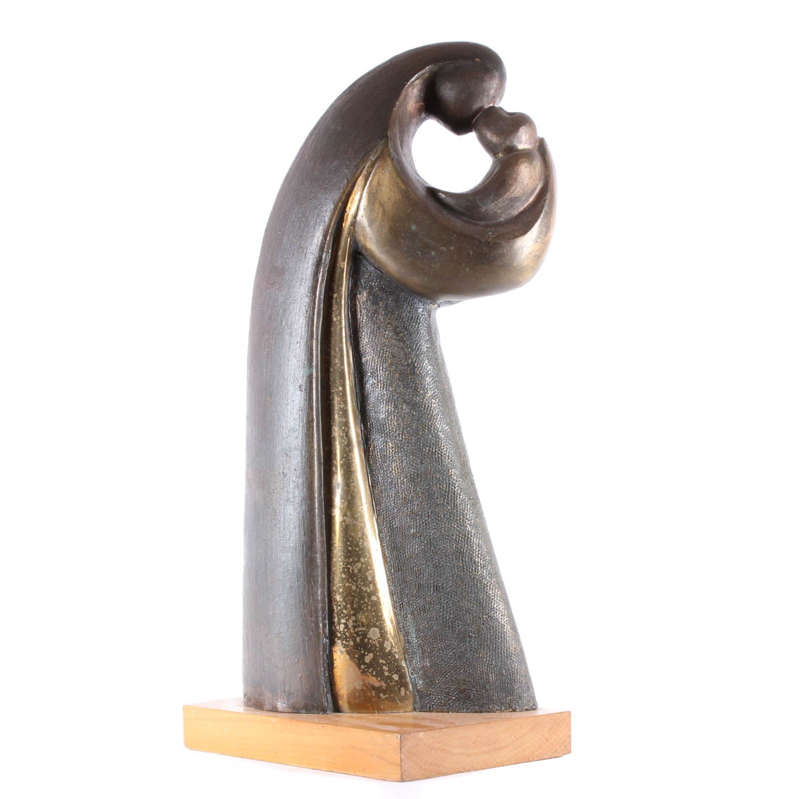 "Alfred Tibor Bronze Sculpture ""Mothers Kiss"""