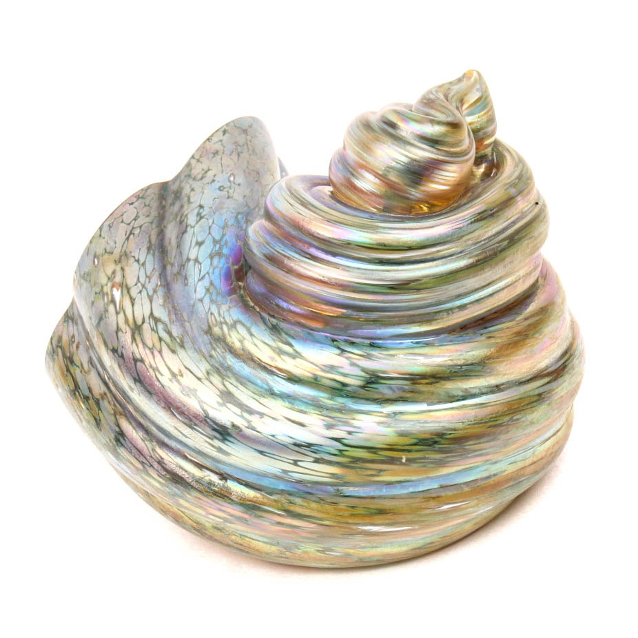 Signed American Art Glass Seashell