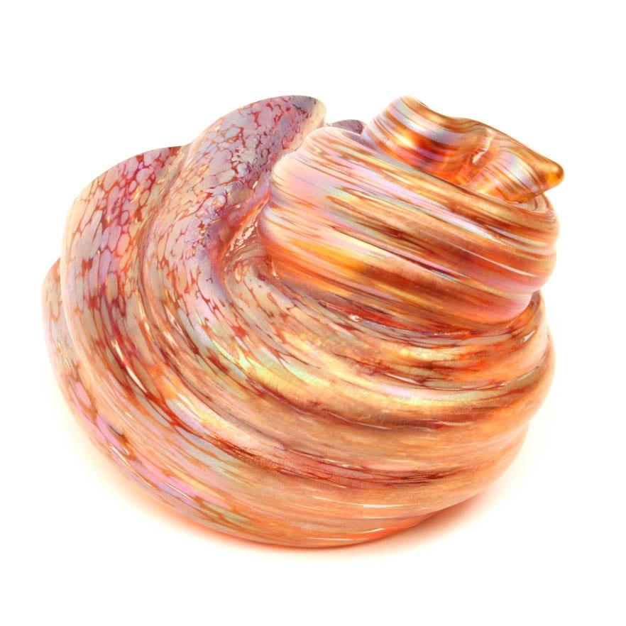 Signed American Art Glass Seashell