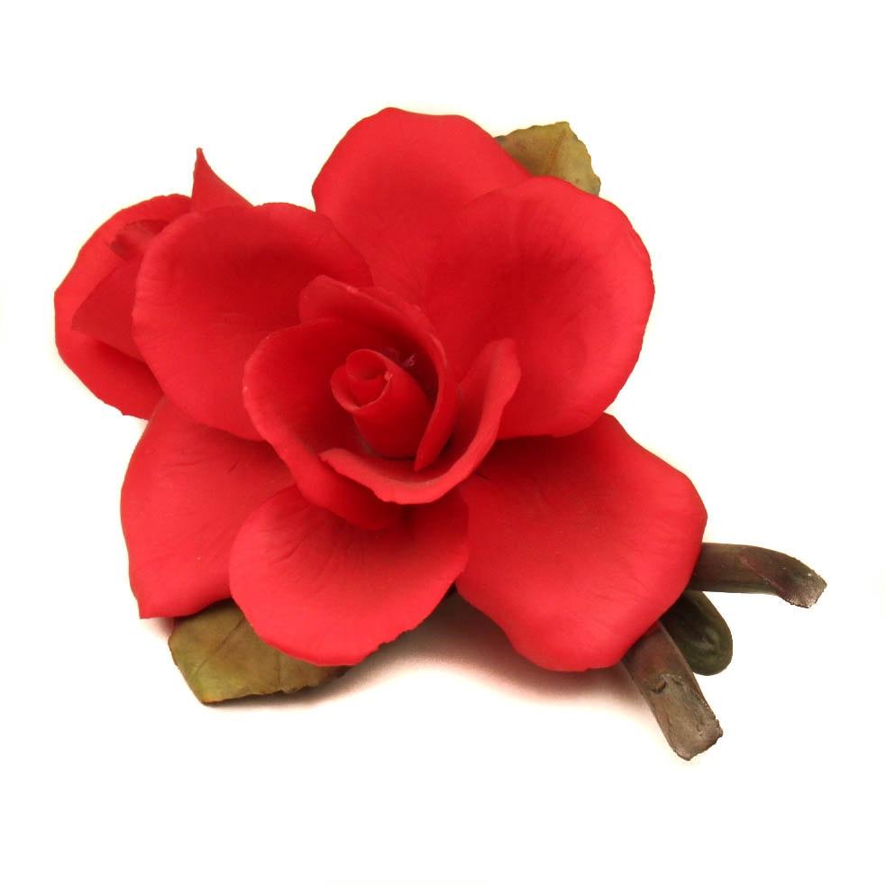 Napolean Capodimonte Porcelain Red Rose