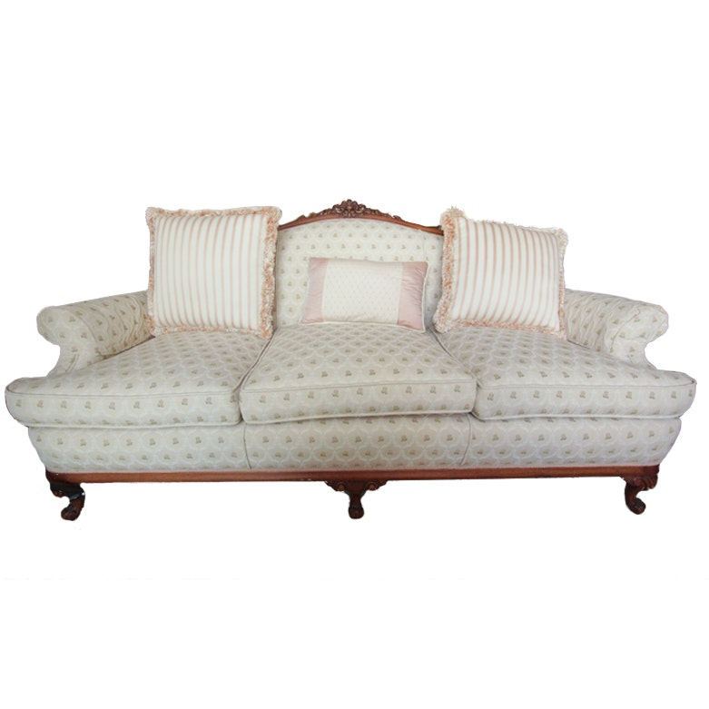 Vintage Victorian Style Upholstered Sofa