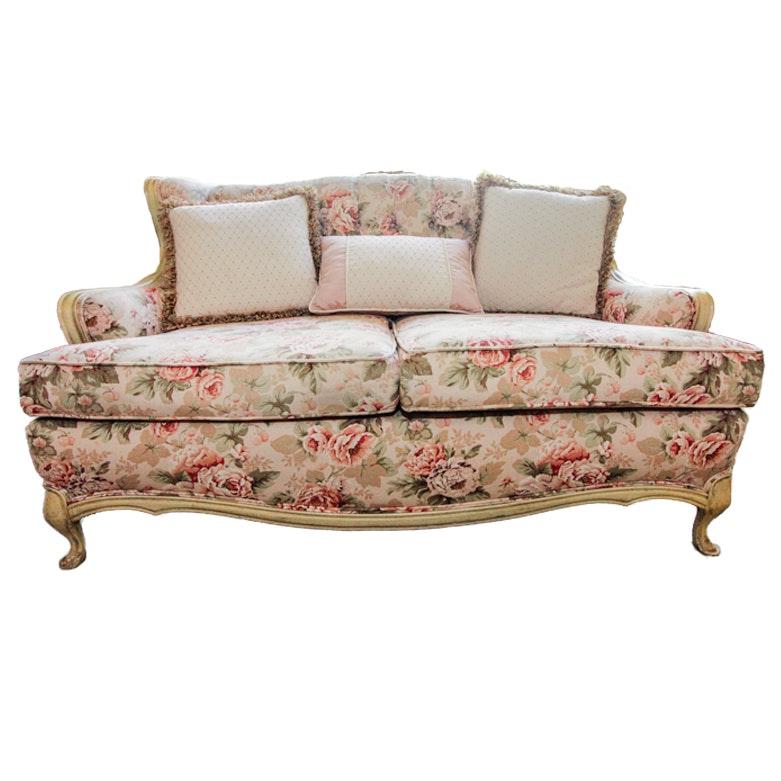 Vintage Floral Upholstered Sofa