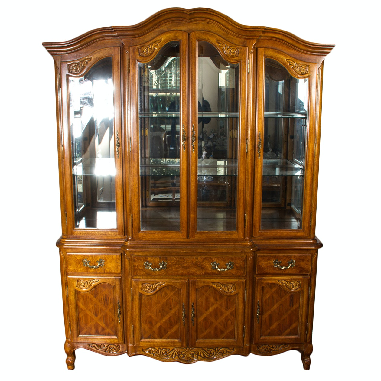 french provincial china cabinet provincial style oak china cabinet ebth 15644
