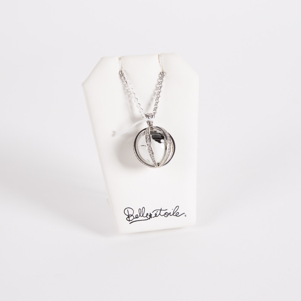 """Belle Etoile Sterling Silver and Enamel """"My World"""" Pendant on a Sterling Chain"""