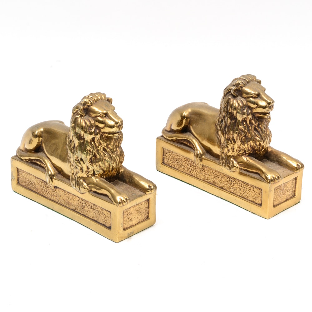 "Lions ""Patience"" and ""Fortitude"" Bookends"