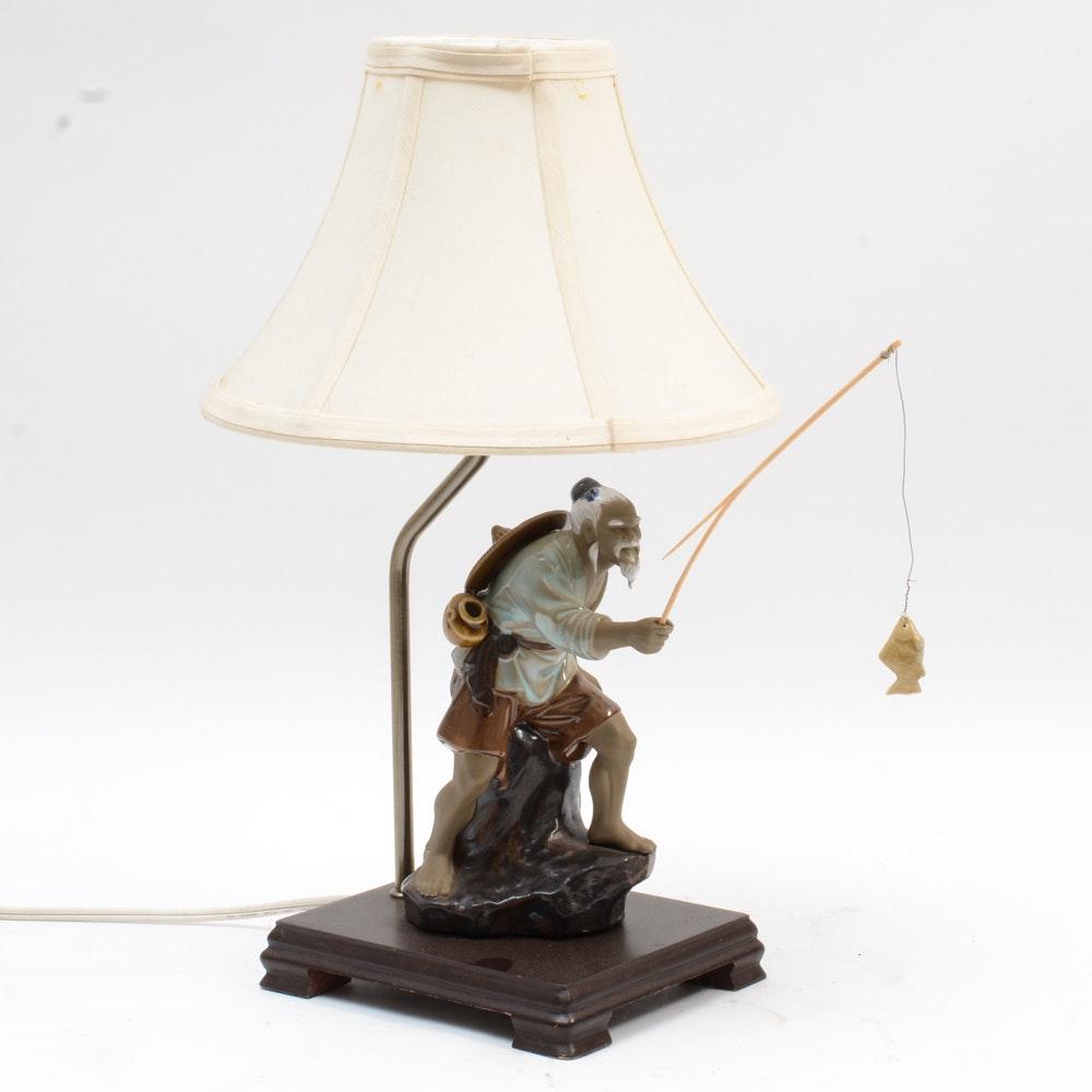 Chinese Shiwan Ware Fisherman Table Lamp