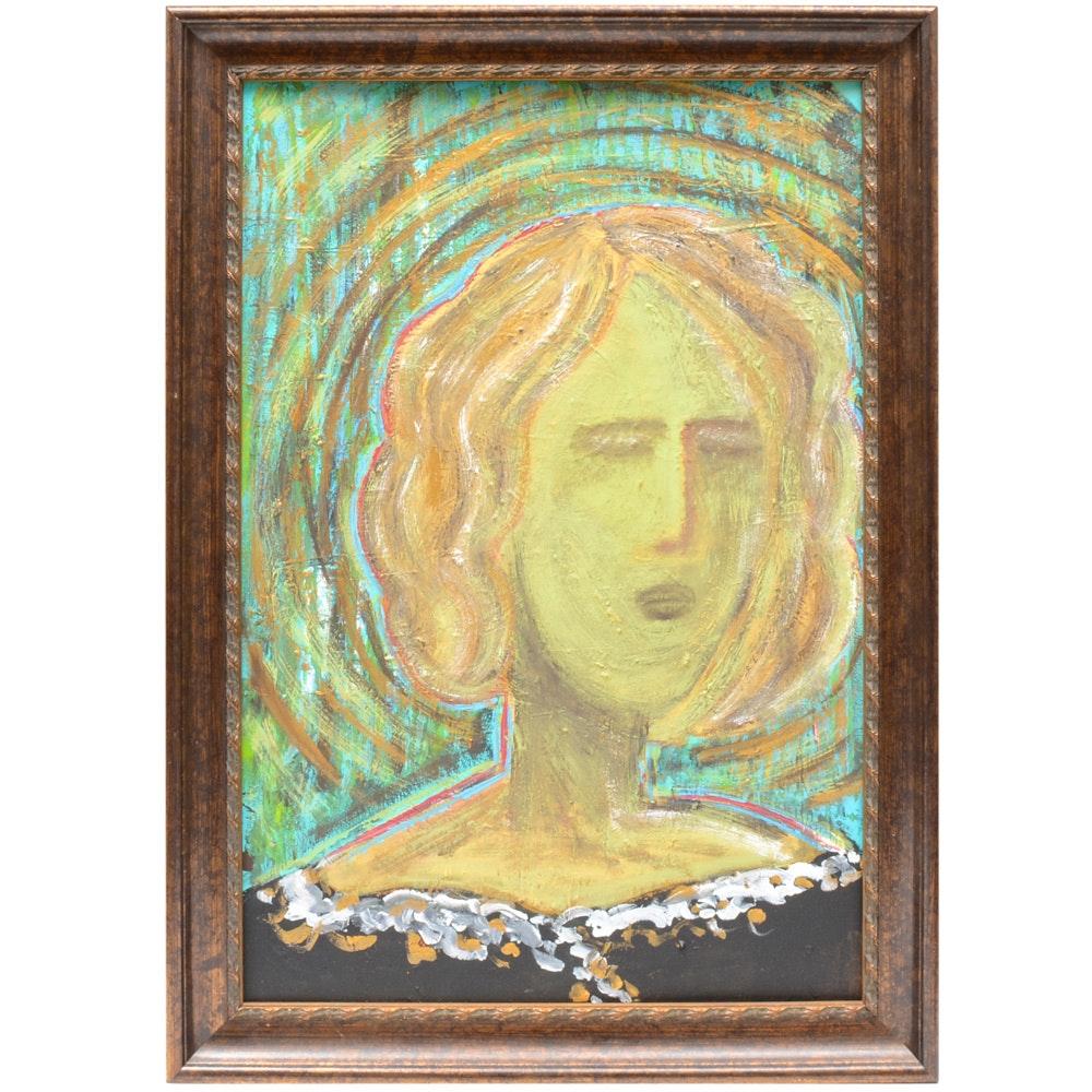 "Ron Padgett Acrylic on Board ""Resentful Vandeuse"""