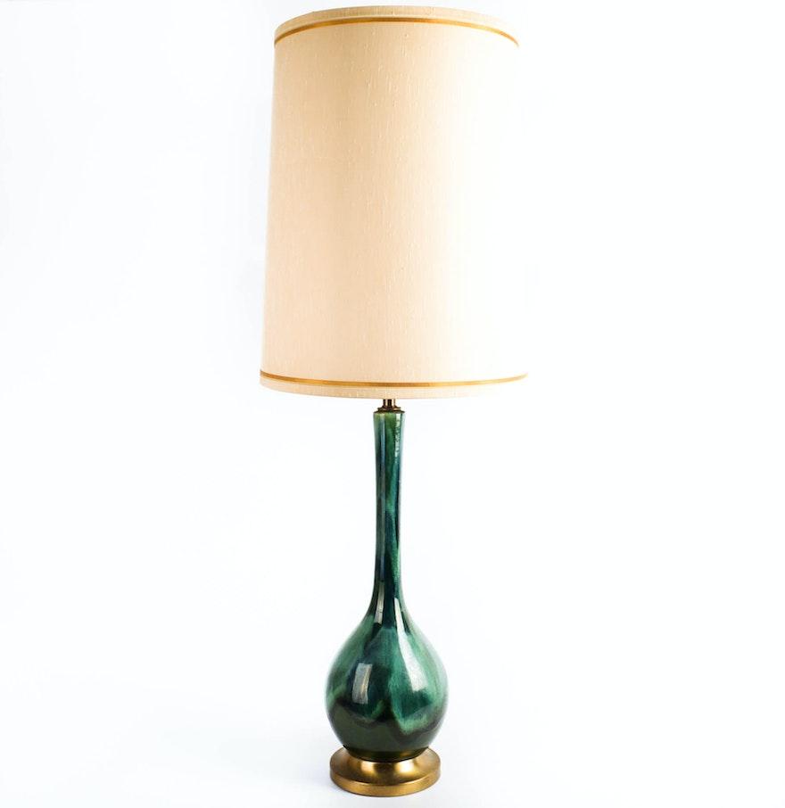 Mid Century Modern Drip Glaze Ceramic Table Lamp Ebth